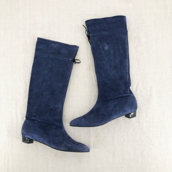 Robert Clergerie Shoes - ROBERT CLERGERIE Navy Slouchy Suede Tie Back Boot